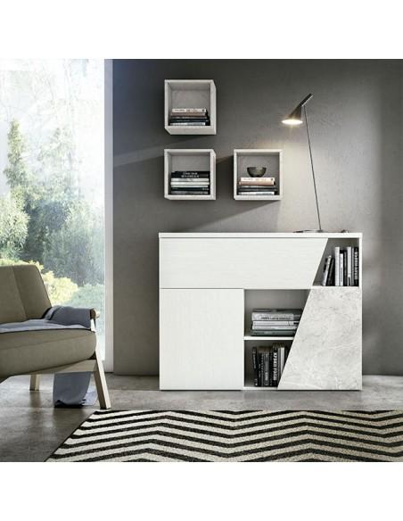 Mueble aparador de diseño moderno lacado en blanco con efecto marmol