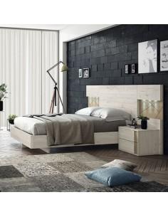 Conjunto dormitorio moderno en color ártico y nórdico con luces LED