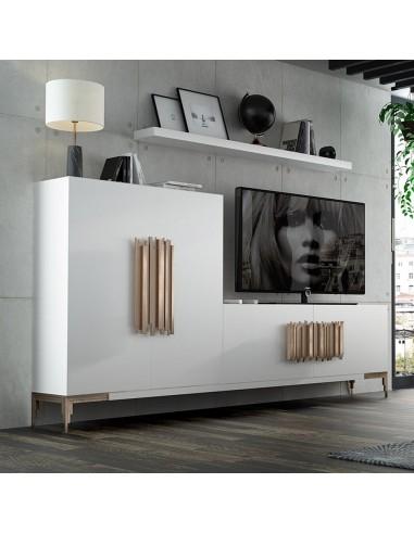 Salón PROMO PR19 blanco de Franco Furniture con originales tiradores de metal