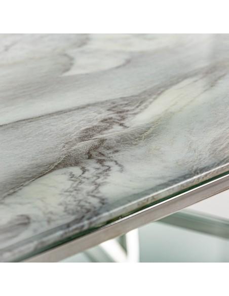 Mesa centro Altiplano de cristal con dos cristales, una efecto marmol