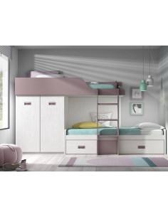 Dormitorio juvenil cama tren en colores ártico y lila