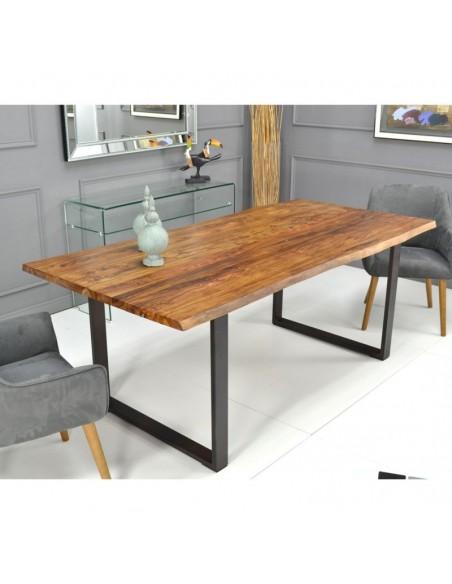 Mesa de comedor de diseño moderno de madera natural con patas de acero