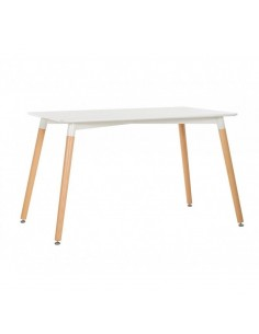 Mesa de comedor de diseño nórdico con pata de madera