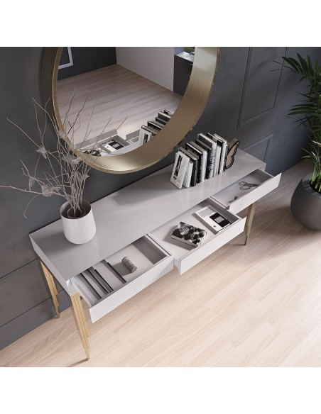 Recibidor Franco Furniture STYLE color blanco y dorado | Oso Perezoso