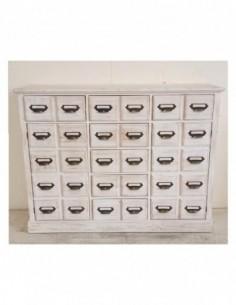 Aparador o mueble auxiliar HUECOS BLANCA de 7 cajones y dos puertas