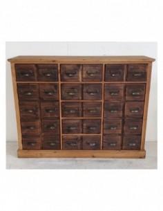 Aparador o mueble auxiliar HUECOS NOGAL de 7 cajones y dos puertas