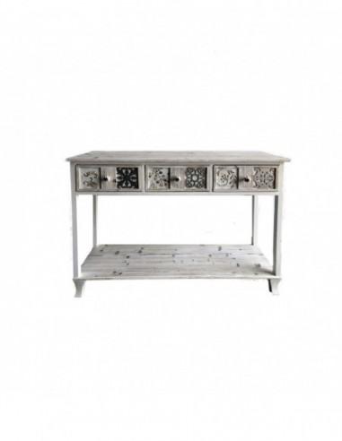 Consola vintage Whitehome de 3 cajones y detalles en relieve