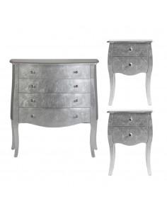 Conjunto mesitas de noche y cómoda SILVER color plata