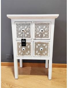 Mesita alta blanca Whitehome de 4 cajones y estilo vintage