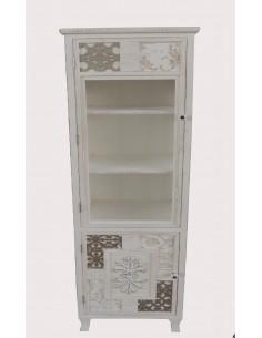 Vitrina blanca vintage WHITEHOME con detalles en relieve