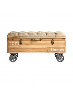 Banqueta Baúl Loft con ruedas de estilo retro / industrial