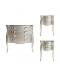 Conjunto mesitas de noche y cómoda Verónica color plata