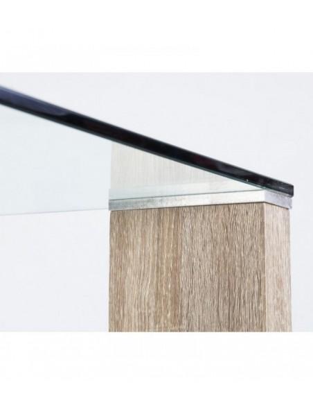 Mesa de comedor con patas color roble de diseño moderno