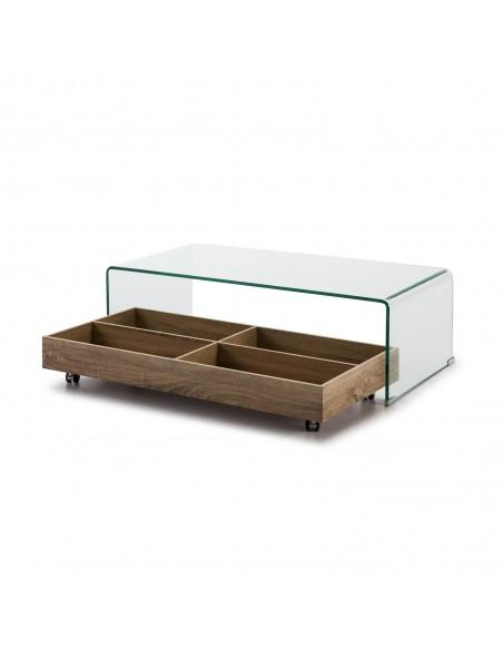 Mesa de centro de cristal con balda de madera con ruedas