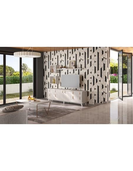 Mueble TV Sajonia SC006 blanco de estilo rústico oriental de Divogue