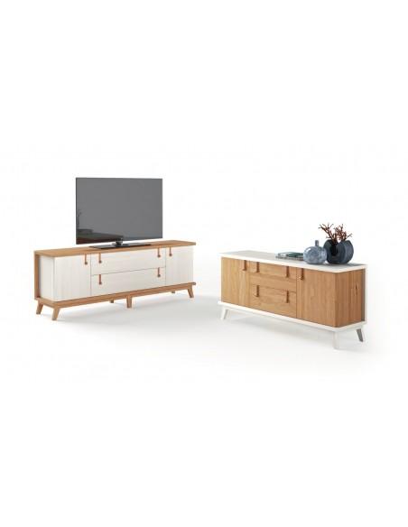 Mueble TV 07C blanco de estilo nórdico-oriental de Divogue