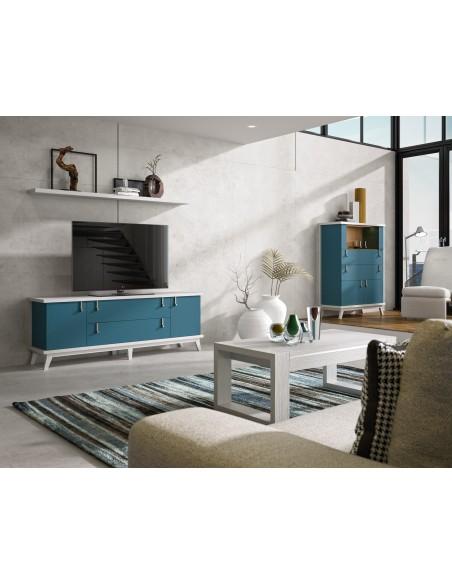 Mueble TV 07C azul de estilo nórdico-oriental de Divogue