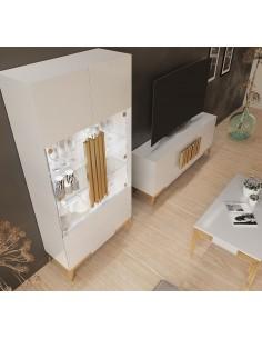 Salón PROMO PR01 blanco de Franco Furniture con originales tiradores de metal
