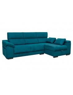 Sofá chaise longue con asientos deslizantes y cabezales reclinables
