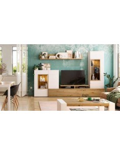 Mueble de salón NEO3 654 en blanco y roble