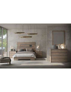 Dormitorio Even con cabecero fondo en denver roble