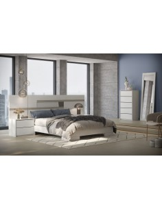 Dormitorio Even Glacial cabezal corrido blanco pino beta