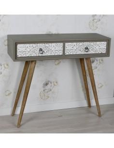 Mueble recibidor consola de diseño vintage con patas de madera