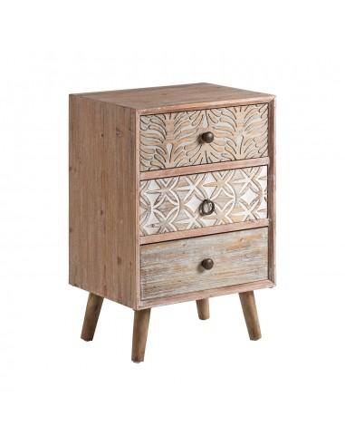6447310448d Mesita de noche vintage de madera con dibujos grabados de madera de ...
