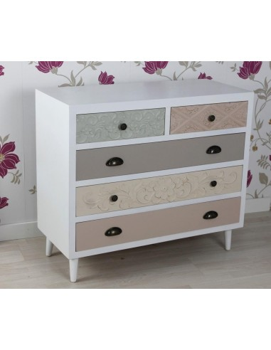 Mueble cómoda blanca con cinco cajones colores y tallados de