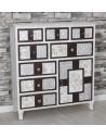 Mueble cómoda madera en blanco y nogal con tallados en plata y