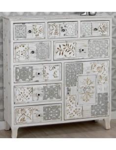 Cómoda Vintage de madera y DM 8 cajones con mosaicos tallados