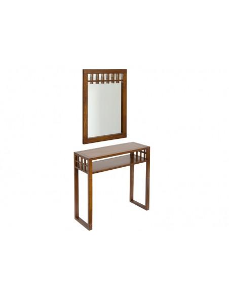 Mueble recibidor clásico de diseño colonial con espejo en color nogal - Ref.9411