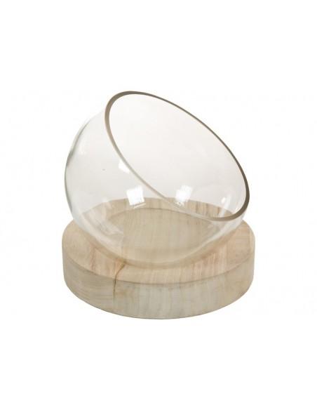 Centro mesa cristal con madera - Ref.43732