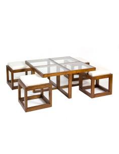 Mesa centro con 4 taburetes...