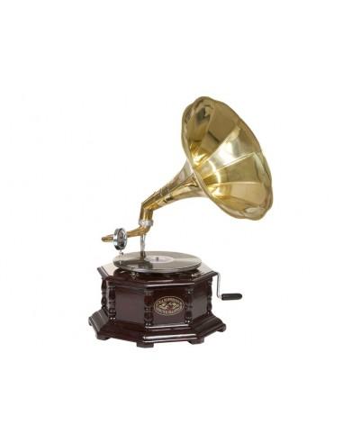 Gramófono octogonal latón -...