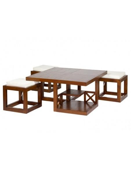 Mesa centro Forest 3 taburetes - Ref.30201
